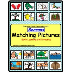 File Folder Game SEASONS Picture Match with Reading Cards