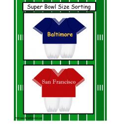 FREE    Kindergarten Size Sorting Super Bowl Worksheet
