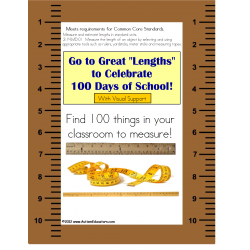 100th Day of School Measurement Activity Common Core