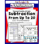 SUBTRACTION Worksheets FROM 20 Following Visual Directions for Autism and Special Needs