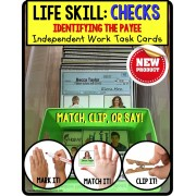 LIFE SKILLS Task Cards for High School Students IDENTIFYING CHECK PAYEE TASK BOX FILLER