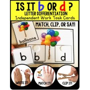 LETTER DIFFERENTIATION Task Cards Lowercase Letters b and d TASK BOX FILLER