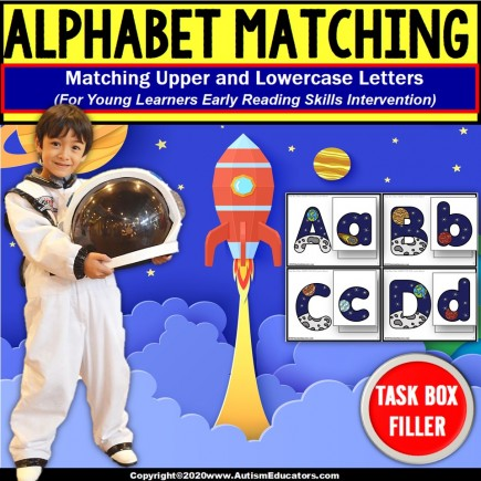 Upper and Lowercase Letter Match | TASK BOX FILLER Autism | Space and Planets