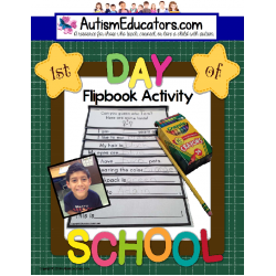 First Day of School Activity Flipbook for Special Education and Autism