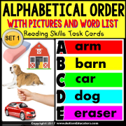 "ALPHABETICAL ORDER Associating Pictures and Words TASK CARDS ""Task Box Filler"""