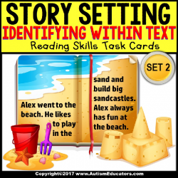 IDENTIFY SETTING IN TEXT Task Cards TASK BOX FILLER Autism and Special Needs