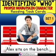 Identifying WHO Task Cards PROPER NOUNS Task Box Filler