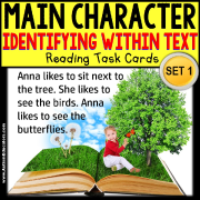 "MAIN CHARACTER IN TEXT Task Cards ""Task Box Filler"" for Autism"