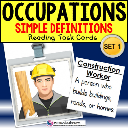 "Reading OCCUPATIONS TASK CARDS ""Task Box Filler"" Autism and Special Education"