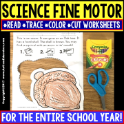 "SCIENCE FINE MOTOR SKILLS Read Trace Color Cut WORKSHEETS ""Growing Bundle"" for Special Education"
