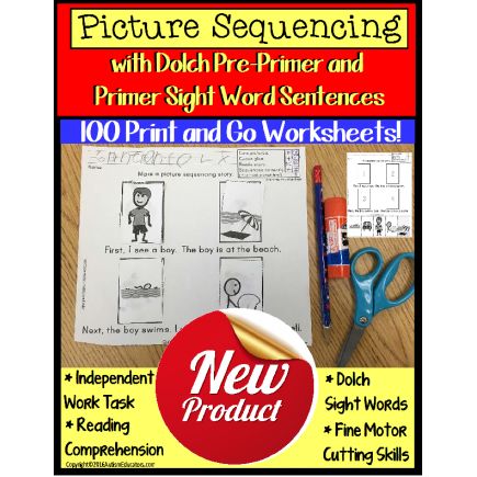 Sight Words Worksheets Sentences with Picture Sequencing and Data for Autism