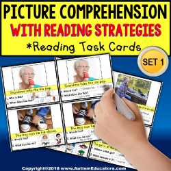 "READING COMPREHENSION Task Cards with Pictures ""Task Box Filler"" for Autism"