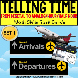"TELLING TIME To The Hour and Half Hour Task Cards ""Task Box Filler"" SET 1"