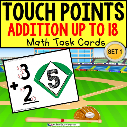 "TOUCH POINT Task Cards Football Addition Sums To 18 ""Task Box Filler"""