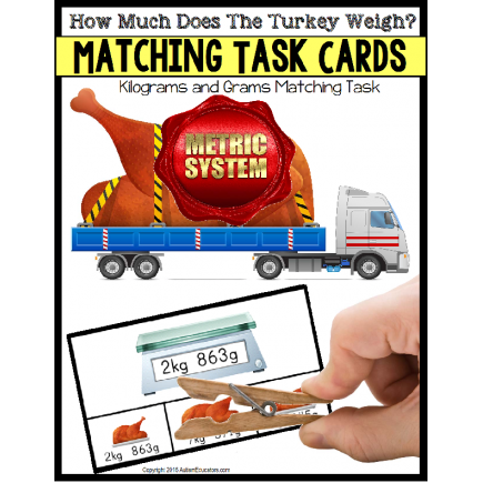 Matching Measurement TURKEY TASK CARDS Metric System for Australia and UK