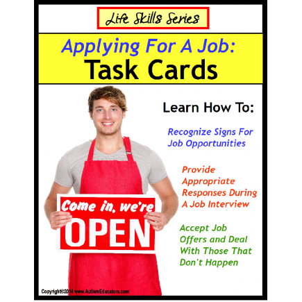 Life Skills Special Education Task Cards: APPLYING FOR A JOB