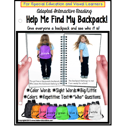 Special Education BACK TO SCHOOL Adapted Interactive Book FIND MY BACKPACK
