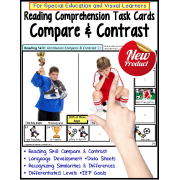 Compare and Contrast LARGE Task Cards for Special Education/AUTISM with DATA