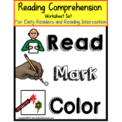 Autism READING COMPREHENSION WORKSHEETS with DATA for Early Readers