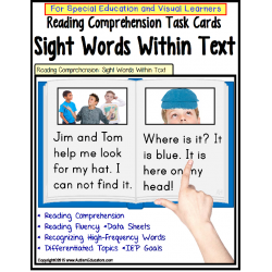 Autism SIGHT WORDS Reading Strategies LARGE Task Cards with DATA