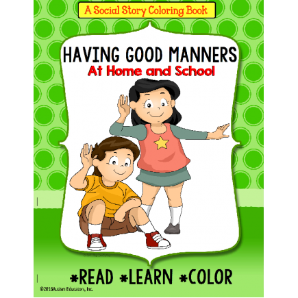 Social Story Coloring Book Series MANNERS with FREE Worksheets for AUTISM