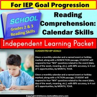 Independent Learning Packet for Special Education CALENDAR SKILLS for Reading