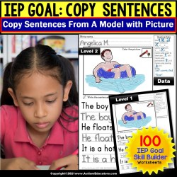 Sentence Writing | IEP Goal Skill Builder Fine Motor Skills TRACE COPY and WRITE