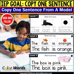 Copy Sentences | Trace-Copy-Write for Fine Motor Skills | Colors TASK BOX FILLER