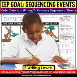 Sentence Sequencing | Order Details in Writing IEP GOAL SKILL BUILDER for Autism