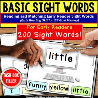 SIGHT WORDS For Early Readers | Task Box Filler for Task Boxes