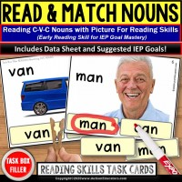 CVC Nouns for Reading and Matching TASK BOX FILLER for Special Education