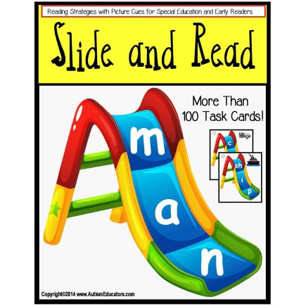 Reading Strategies: 100 Slide and Read Word Cards - Autism and Special Education