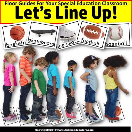 Beginning of School Year LINE UP FLOOR GUIDES - SPORTS Theme - Special Education