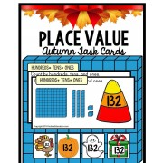 PLACE VALUE TASK CARDS – Hundreds/Tens/Ones – AUTUMN Theme with Data