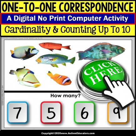 One To One Correspondence to 10 NO PRINT Digital Activity Variety Set