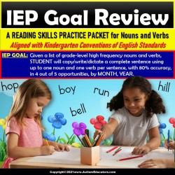 Nouns and Verbs in Sentences | Review Packet for IEP Goals for Special Education
