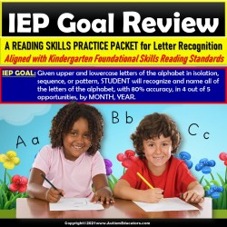 Letter Recognition Review Packet for IEP Goals for Special Education and Autism