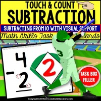"SUBTRACTION - BASEBALL Touch and Count Task Cards ""Task Box Filler"""