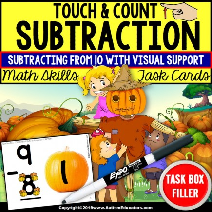 "SUBTRACTION Touch and Count PUMPKIN Task Cards ""Task Box Filler"" (Single-Digit)"
