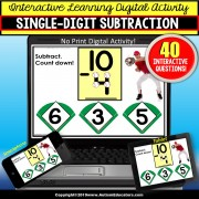 SUBTRACTION Touch and Count BASEBALL DIGITAL Special Education Distance Learning