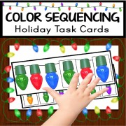 Christmas SEQUENCING COLORS Task Cards Books for Autism and Special Education