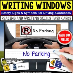 Life Skills Writing Work Task for ROAD SAFETY - WORD WINDOWS Task Box Filler