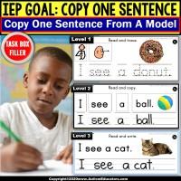 Copy Sentences | Trace-Copy-Write for Fine Motor Skills TASK BOX FILLER