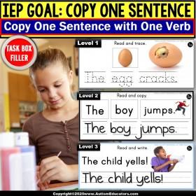 Copy Sentences | VERBS | Trace-Copy-Write for Fine Motor Skills TASK BOX FILLER