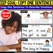 Copy Sentences | EMOTIONS | Trace-Copy-Write Fine Motor Skills TASK BOX FILLER
