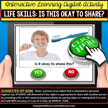 Life Skills SHARING Hygiene Items   Interactive Digital Activity