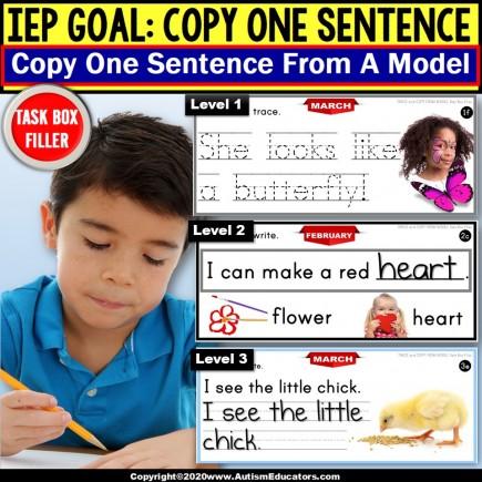 Copy Sentences | MONTHS | Trace-Copy-Fill In Blank | Fine Motor TASK BOX FILLER