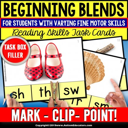 BEGINNING BLENDS with Real Life Pictures Task Cards TASK BOX FILLER