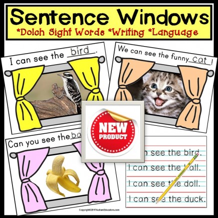 SIGHT WORDS Sentence Writing Windows with IEP Goals for Special Needs Students