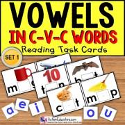 VOWELS in C-V-C Words Task Cards TASK BOX FILLER ACTIVITIES